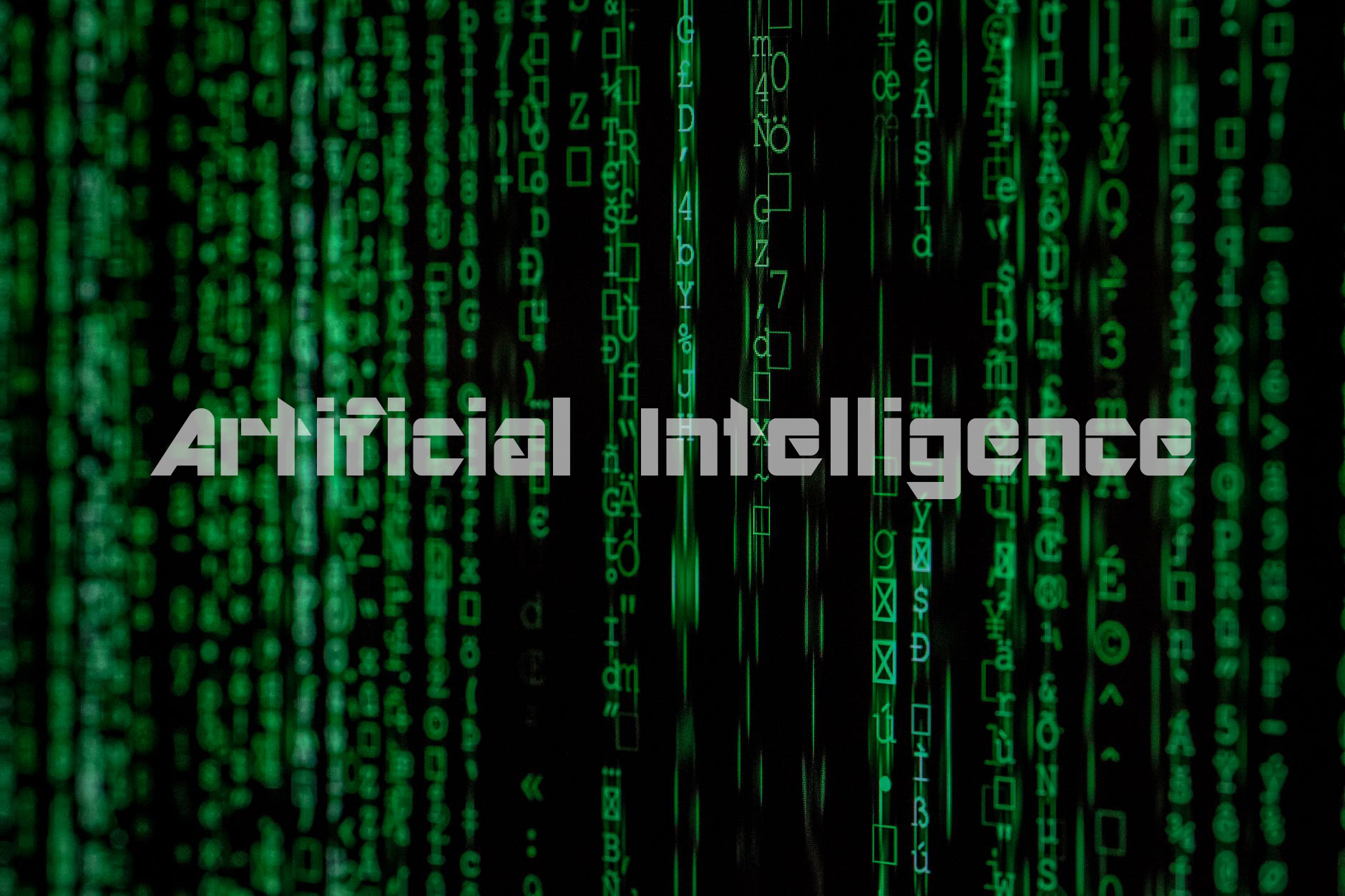 An image showing a text Artificial intelligence with Cryptic text in the background.