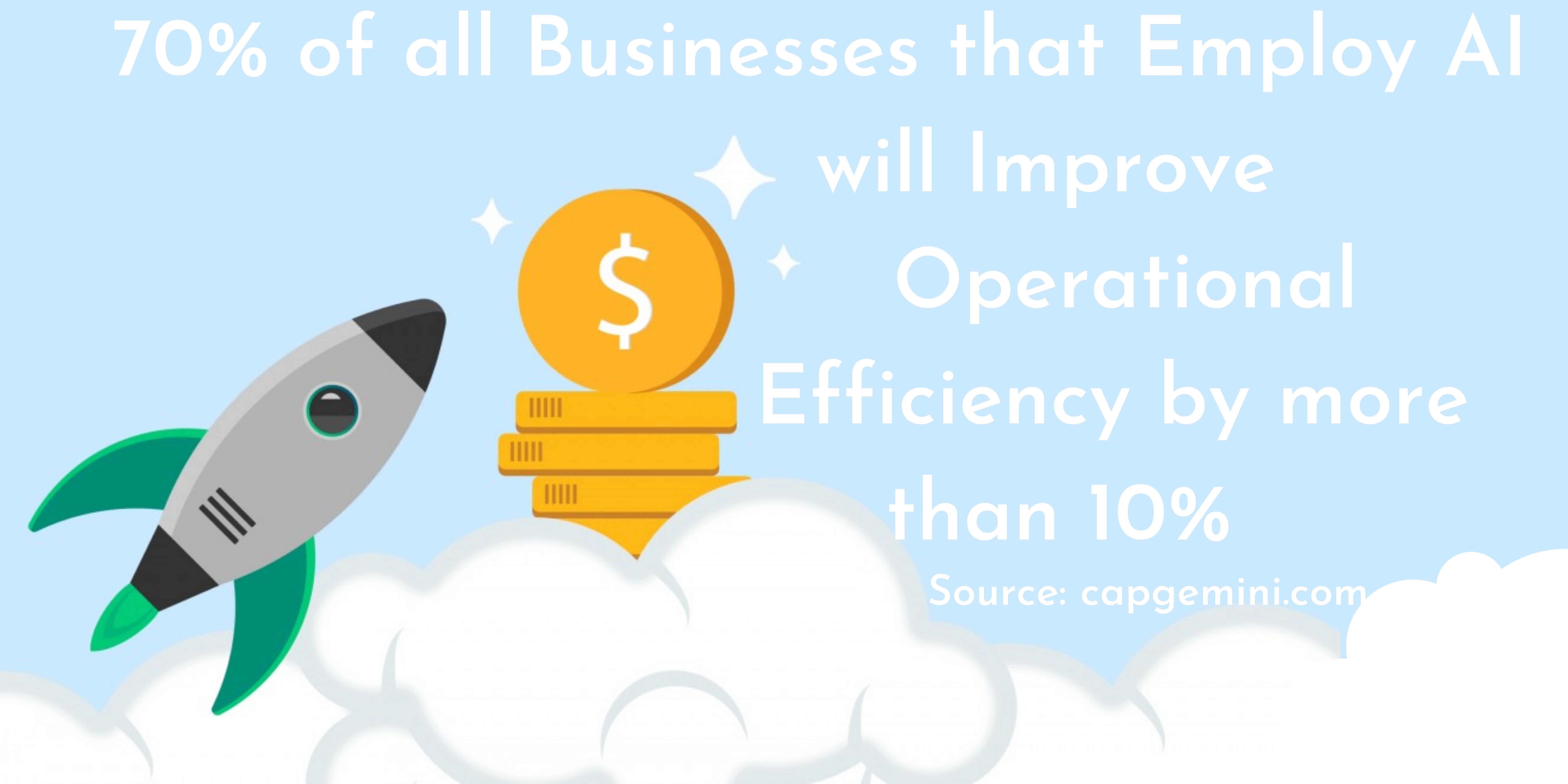 Image banner that states that 70% of all businesses that employ AI have improved operational efficiency by more than 10%, with a vector image of a rocket shooting to the clouds, indicating business growth